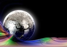 Globe puzzle on  abstract  background Royalty Free Stock Images