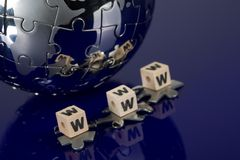 Globe puzzle on blue background Royalty Free Stock Image