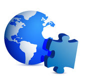 Globe and puzzle piece Royalty Free Stock Image