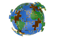 Globe from puzzles Stock Photography