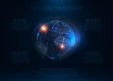 Globe réaliste futuriste abstrait de Sci fi de la terre au vecteur de mouvement Images stock