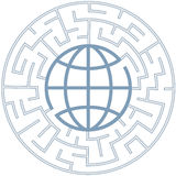 Globe in Radial Maze as Puzzle Earth Royalty Free Stock Image