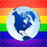 Globe with rainbow background for gay rights Stock Photography