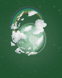 Globe with rainbow on sky collage. Globe with rainbow on green sky collage vector illustration