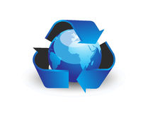 Globe with recycle arrow symbo Royalty Free Stock Photo
