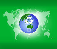 Globe and recycle sign over attractive background Stock Photo