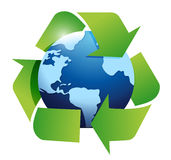 Globe and recycle symbol illustration design Stock Photos