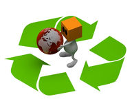 Globe with recycling sign Stock Images