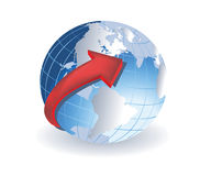 Globe with red arrow Stock Images