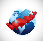 Globe with red hearts around illustration Stock Photos