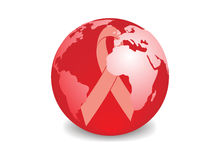 Globe with red ribbon symbol of aids awareness Stock Photo