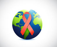 Globe and red support ribbon illustration Royalty Free Stock Image