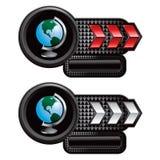 Globe on red and white arrow nameplates Royalty Free Stock Photo