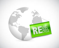 Globe and reduse, reuse, recycle Royalty Free Stock Photos