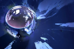 Globe reflected in sphere Royalty Free Stock Photos