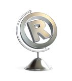Globe registered trademark sign 3d Illustrations. On a white background Stock Photo