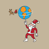 Globe and reindeer holding by Santa Stock Photos