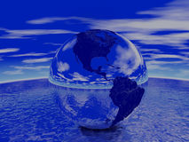 Globe render. Globe reflecting ocean and sky. Render Royalty Free Stock Photography