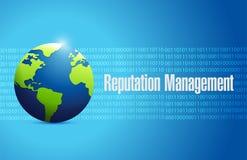 Globe reputation management sign illustration. Design over a blue binary background Stock Image