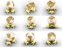 Globe restant sur des tortues Images libres de droits