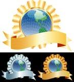 Globe ribbon Stock Image