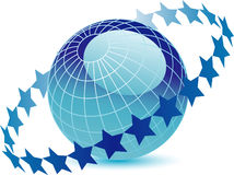 Globe with ring of stars vector illustration