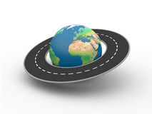 Globe with road around it. Globe with continents and oceans showing Europe and Africa. There is a asphalt road around the globe royalty free illustration