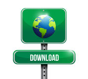 Globe road sign illustration design Royalty Free Stock Images