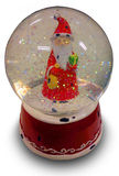 Globe rouge de neige avec Santa Claus Photos libres de droits