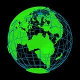 Globe rougeoyant du cyber 3D de planète de la terre Image stock