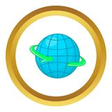 Globe and round the world arrow symbol vector icon. In golden circle, cartoon style isolated on white background Stock Photography