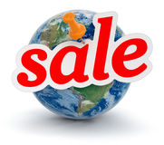Globe and Sale (clipping path included) Stock Image