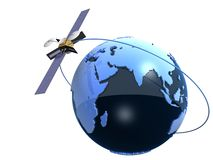 Globe and satelite. 3d rendered illustration of a blue globe and a satelite royalty free illustration