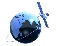 Globe and satelite. 3d rendered illustration of a blue globe and a satelite stock illustration