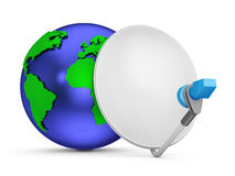 Globe with  satellite dishes.Elements of this image furnished by Stock Images