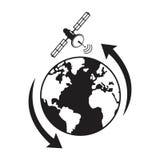 Globe satellite transmission around Stock Images