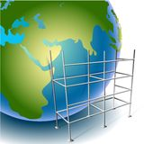 Globe. And scaffolding close-up Royalty Free Stock Images