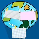 Globe is a scrap note Royalty Free Stock Images