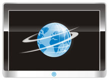 Globe on the screen Hi-tech device Stock Photography
