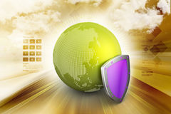 Globe with security shield Royalty Free Stock Photo