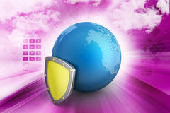 Globe with security shield. In color background Stock Images
