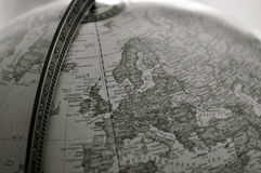Globe, sepia. Focus on northern Europe Royalty Free Stock Photography