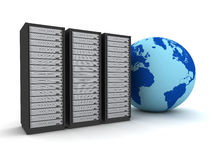 Globe and server racks concept   3d illustration Stock Images