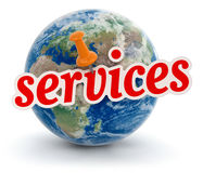 Globe and services (clipping path included) Stock Photos