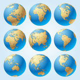 Globe set with borders of countries. Globe set with with borders of world countries. Easy to select every country and delete contour of borders. Contain the Royalty Free Stock Image