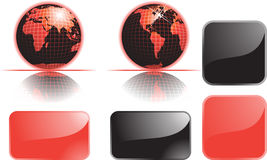 Globe set and buttons Royalty Free Stock Photography