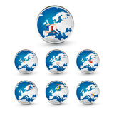 Globe set with EU countries World Map Location Part 3 Royalty Free Stock Photo