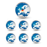 Globe set with EU countries World Map Location Part 2 Stock Images