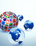 Globe Set with Flags Royalty Free Stock Photos