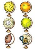 Globe set sports balls basketball soccer Golf tennis volleyball and beer
